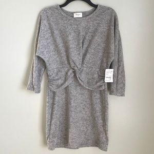 New Everly Gray Twist Front Sweater Dress